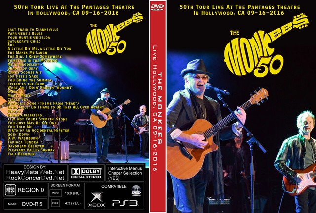 the monkees 50th tour live at the pantages theatre hollywood ca 09 16 2016 2 dvds. Black Bedroom Furniture Sets. Home Design Ideas